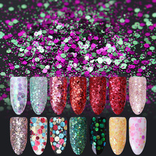 1 Box 10ml Grass Green Red Glitter Sparkle Hexagon Nail Sequins Ultra-thin Powder Nail Paillette Flakies