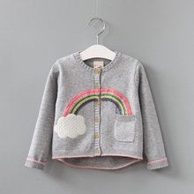 2017 spring new rainbow cloud baby girls boys Knitted sweaters outer wear toddler children sweater kids knitwear clothes