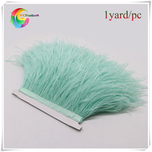 2017 new 1yard dyed mint green real ostrich feather trims fringe with ratin ribbon light green real ostrich feather trimming