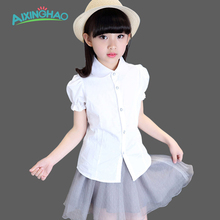 Aixinghao Girls White Blouse School Kids Blouse For Girls Shirts Tops Teenage Kids Clothes School Uniforms 6 7 8 9 10 Years