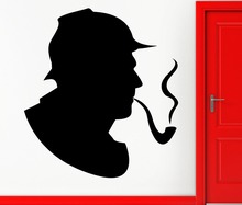 Sherlock Holmes Detective Wall Stickers Handsome Portrait Tobacco Pipe Pattern Wall Decal Smoke Kids Room Interior Decor SYY608(China)