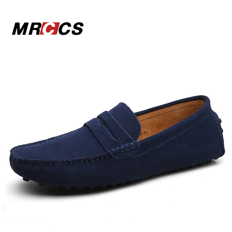 MRCCS Brand Big Size Soft Suede Leather Mens Loafers,Casual Light Weight Driving Shoes,Red Gray Color Suede Low Cut Moccasins<br>