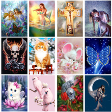 Round drill diamond embroidery 5D diy diamond painting cross stitch kits mosaic pattern flower animal picture home decor gift(China)