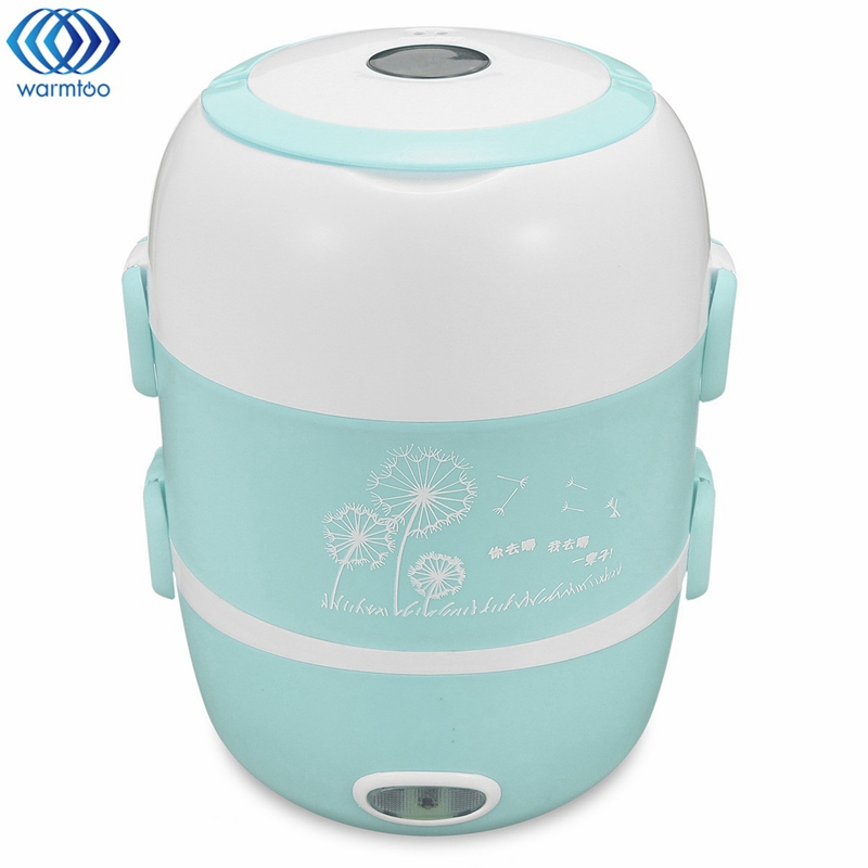 1.7L Mini Electric Lunch Box Portable Rice Cooker Steamer 220V 2 Layer Stainless Steel Heating Device Kitchen Picnic Containe<br>