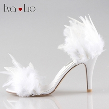 CHS296 DHL Custom Handmade White Feather Women High Heel Shoes Bridal Wedding Shoes Women D'Orsay High Heel Sandals Dress shoes(China)