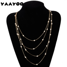 YAAYOO Women Simple Multilayer Yellow Chain Rice Simulated-Pearls Statement Necklace Romantic Jewelry For Gift Party NL462(China)