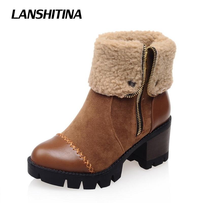LANSHITINA Women Ankle Boots Square Heels Shoes Short Fur Zipper Boot Leisure Platform Shoes Boots Round Toe Footwear Botas G169<br>