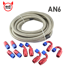 evil energy AN6 Double Stainless Steel Braided Oil Fuel Hose 5Meter+AN6 Red And Blue Fittings Hose End Adaptor Oil Fuel Adapter(China)