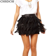 Buy CHSDCSI Summer Women Skirt Line Fringe 2017 Skirt Woman High Waist American Apparel Mini Tassel Solid Black PU Leather Skirt for $9.64 in AliExpress store