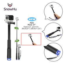 SnowHu For Go Pro 37'' Extendable Handheld POV Pole Telescopic Monopod Stick w/ Wifi Remote Holder Clip for GoPro Hero 6 5 4 3+(China)
