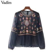Vadim women vintage floral embroidery mesh shirts see through transparent long sleeve blouse female casual tops blusas LT2267(China)