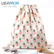 VEAMOR Girls Shoes Bags Women Cotton Canvas Shoulder Bags Drawstring Pineapple Printing Clothes Storage Bags WB327(China)