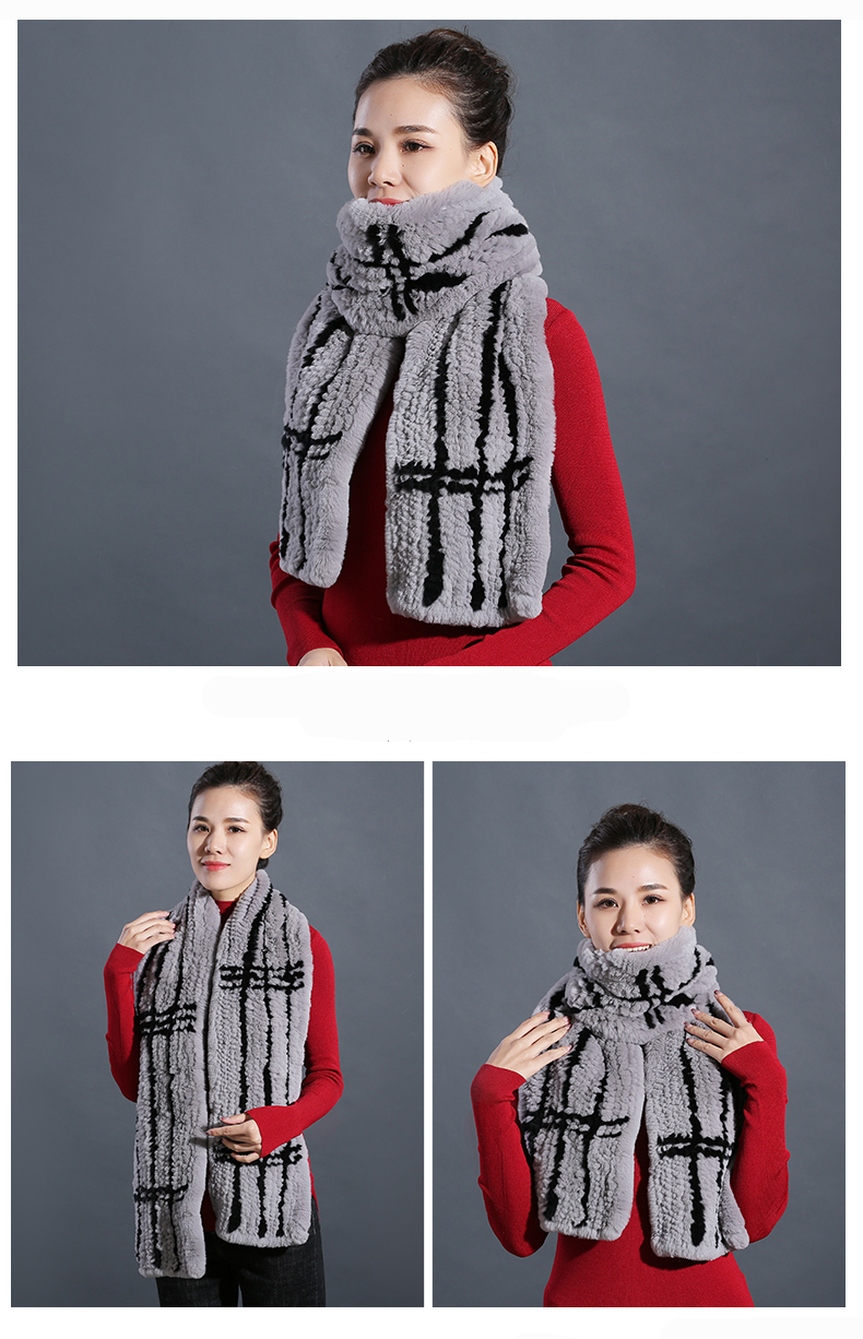 100% Real Rex Rabbit Fur Scarves Wraps For Women Winter Handmade 2018 New Fashion Long Natural Fur Scarf   (10)