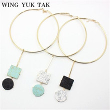 Wing Yuk Tak Collares Rushed Collier 2017 New Choker Necklace Fashion Jewelry Women Accessories Marble & Unique Design Torques(China)