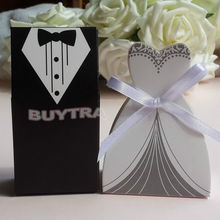100pcs/lots Bride And Groom Wedding Candy Box Gift Favour Boxes Wedding Bonbonniere With Ribbon Event Party Supplies