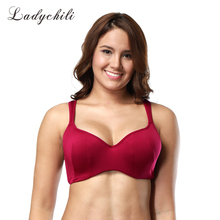 Ladychili Red Color Satin Full Cup Bra for Big Size Breast with Underwire Thin Cup Wide Bra Anti-Slip Straps Seamless Bra WD28