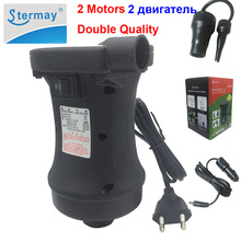 Stermay HT-458 2 motor electric inflatable air pump AC 220V DC 12V car cigarette lighter pump inflator deflator for fishing boat(China)