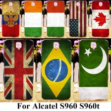 AKABEILA Phone Cover For Alcatel OneTouch Idol X+ Idol X Plus S960T 6043D Case Uk France Ukrain Spain Brazil Flags Bag Skin Hood(China)