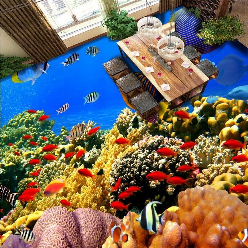 Free Shipping Fashion HD creative tropical fish flooring wallpaper office self-adhesive lobby thicken floor mural<br>