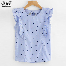 Dotfashion Frill Trim Open Back Bow Tie Detail Striped Top 2018 Summer Cap Sleeve Ruffle Slim Woman Top Blue Round Neck Blouse(China)