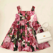 Fashion Girls Dress Children Clothing Cotton 2017 Summer Grils Rose Princess Wedding Party Dresses Kids Clothes
