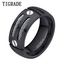 TIGRADE 8mm Silver Black Mens Titanium Ring Stainless Steel Cables Men Engagement Rings Wedding Band Male Jewelry Unicorn Beads