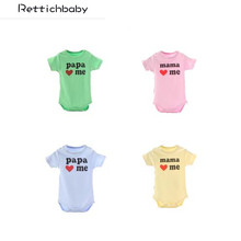 2017 New Fashion Baby Clothes 8 designs Newborn Short-sleeve Bodysuit Baby Jumpsuit Smile Logo Papa Mama Love Me