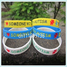 New Arrived 100PCS/Lot I Love Someone With Autism Autism Awareness Silicon Wristband Bracelet(China)