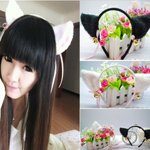 2017 Women Fashion Charming Lovely High Quality White/Black Fox Cat Ear Fur Hair Clip Hairband Bell Hairwear