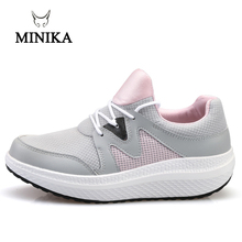 Minika Women Slimming Shoes Female Wedges Light Soft Outdoor Walking Shoes Ladies Training Sneakers Toning zapatillas deportivas(China)