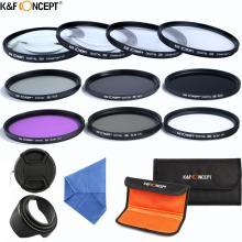 K&F CONCEPT Camera Lens Filter Set 10pcs 58mm UV CPL FLD ND2 4 8+Cap+bag+Lens Hood+Clean Cloth For Canon Nikon d3300 fujifilm(China)