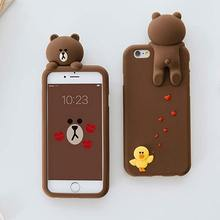 New Cute 3D Cartoon Love Toy Yellow Chicken Sally Brown Bear Soft Silicon Funda Phone Cases Cover For iPhone 6 6S 6G 7 Plus Case