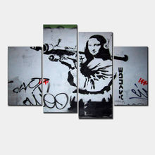 Direct Selling Unframed 4 Pcs/set Banksy Art Monalisa And Rpg Modern Funny Modular Painting Canvas Fashion Picture Home Decor