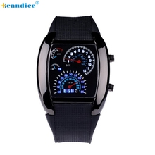 Fashion Aviation Turbo Dial Flash LED Watch Gift Lady Sports Car Meter Creative
