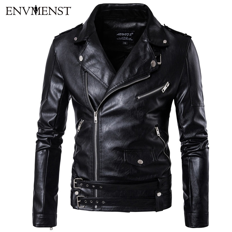 Envmenst 2017 New Fashion Men's PU Leather Jacket Leisure Turn Down Collar Leather Jacket Men Coats Plus Size 5XL