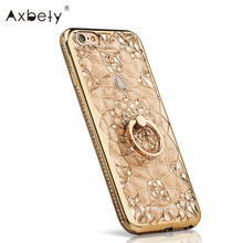 Axbety Gold Glitter 3D Case iPhone 6 Case Luxury Soft Silicone Cover Girl Crystal Ring Case iPhone 6s Stand Cover 6 Plus