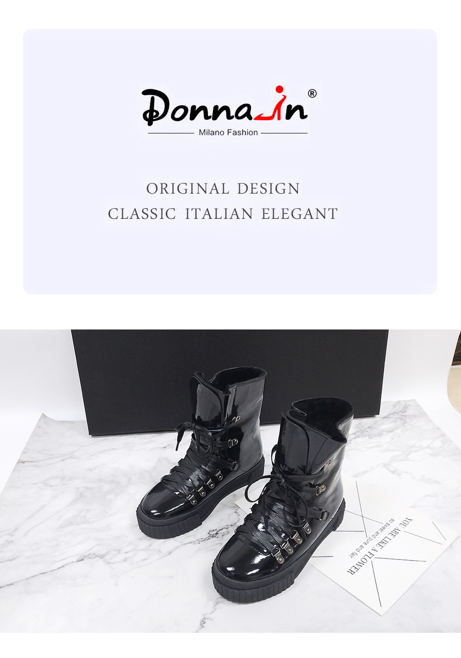 Donna-in 2018 Fashion Winter Ankle Boots Women Leather Platform High Heel Lace Up Short Pulsh Warm Female Boots Ladies Shoes (2)