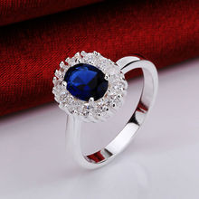 2015 Christmas gift Sunflower Blue Large Gem 925 Plated Silver ring for women and Wedding Ring vintage silver 925 jewelry R649C