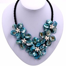 Fashion Mop White freshwater Pearl turquoises baroque 5 shell flower Chokers necklace(China)