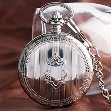 Retro Shield Stripe Self Winding Automatic Mechanical Skeleton Pocket Watch Vintage Men Fob Nurse Fashion Necklace Cool Gift