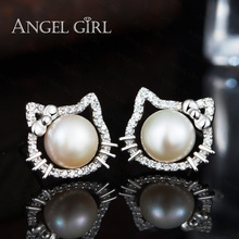 Angel Girl Popular White Hello Kitty Stud Earrings With Natural Big Round Pearl Of 925 Sterling Silver Jewelry For Women(China)