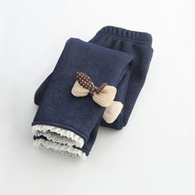 MRJMSL Winter Fur Girls Leggings Children trousers Kids Thick Warm Cotton Leggings for Girl Pants bowties butterfly 100~150