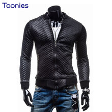 New Casual Jaqueta De Couro Masculina Motorcycle Leather Jacket Man Long Sleeve Classic Black Fashion Slim Mens Leather Jacket
