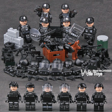 6pcs SWAT Military Army World War 2 Navy Seals Special Forces Team Soldier Mini Building Blocks Figures Boy Educational Toy Boy(China)
