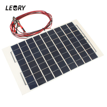 LEORY 12V 10W Solar Panel PolyCrystalline Transparent Epoxy Resin Cells DIY Module With Block Diode 2 Alligator Clips 4m Cable