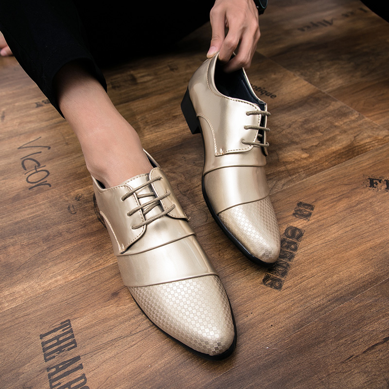 comfortable mens dress shoes luxury brand italian gold male footwear formal patent leather woven skin derby oxford shoes for men (24)