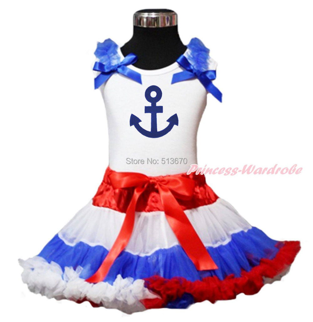 Blue Anchor Print White Top Shirt Red White Blue Pettiskirt Baby Girl Outfit Costume Set 1-8Y MAPSA0089<br>