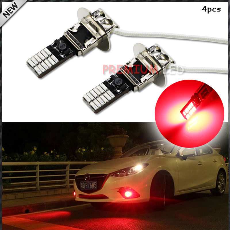 4pcs New Style Bright Red 24-SMD-4014 H3 LED Replacement Bulbs For Car Fog Lights, Daytime Running Lights, DRL Lamps(China)