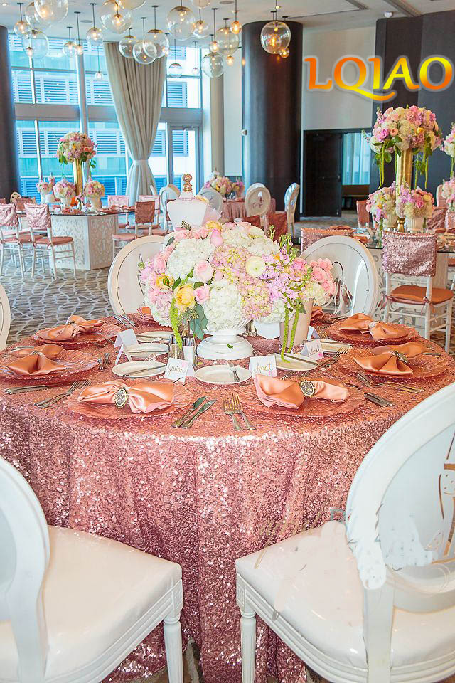 Pink Gold Sequin Tablecloth-003
