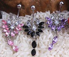 316L Stainless Steel Color Flower Navel Belly Button Piercing Ring 1.6*10*5*8mm Fashion Body Jewelry(China)